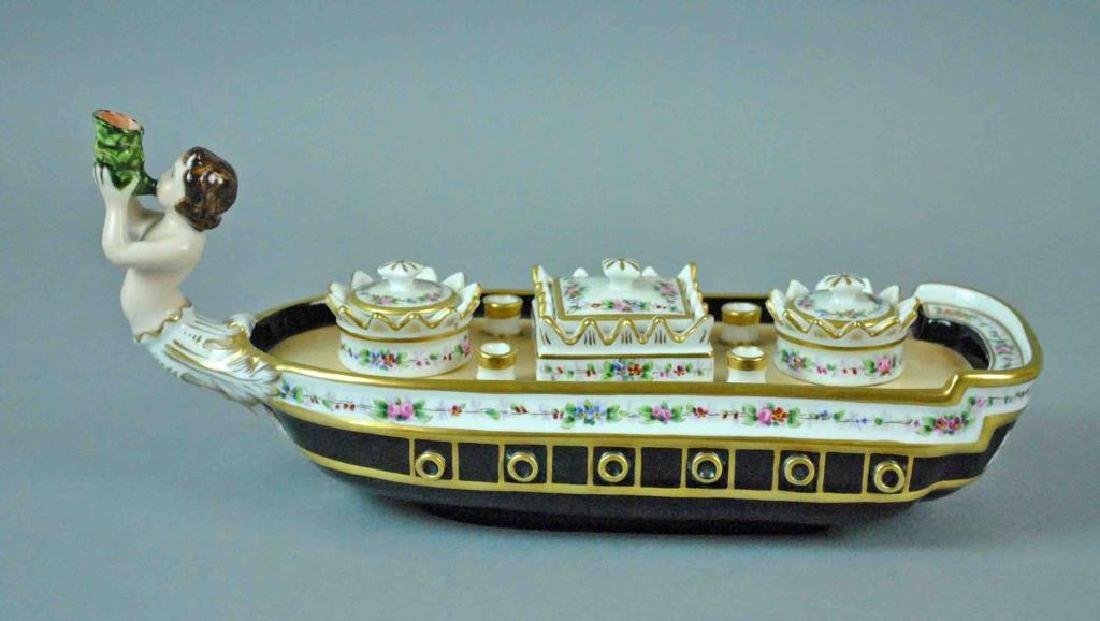 PORTUGUESE PORCELAIN SHIP FORM INKWELL