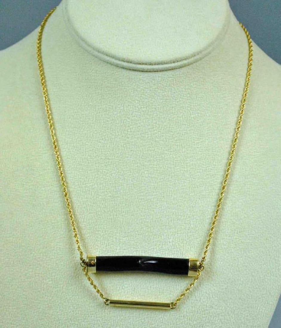 GOLD & BLACK CORAL PENDANT NECKLACE