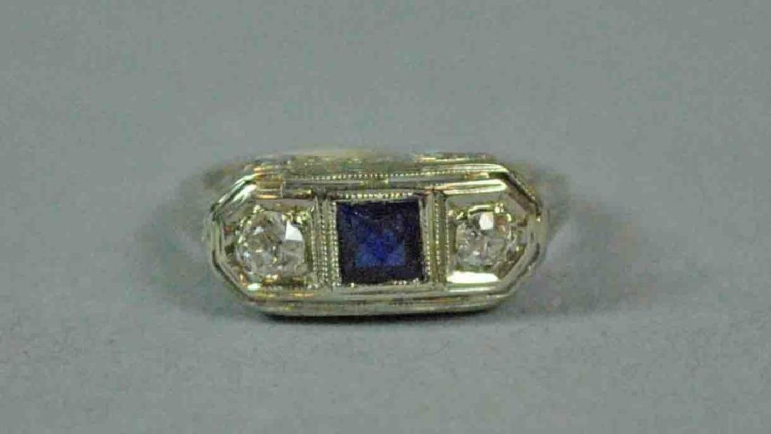 18K ART DECO DIAMOND & SAPPHIRE RING