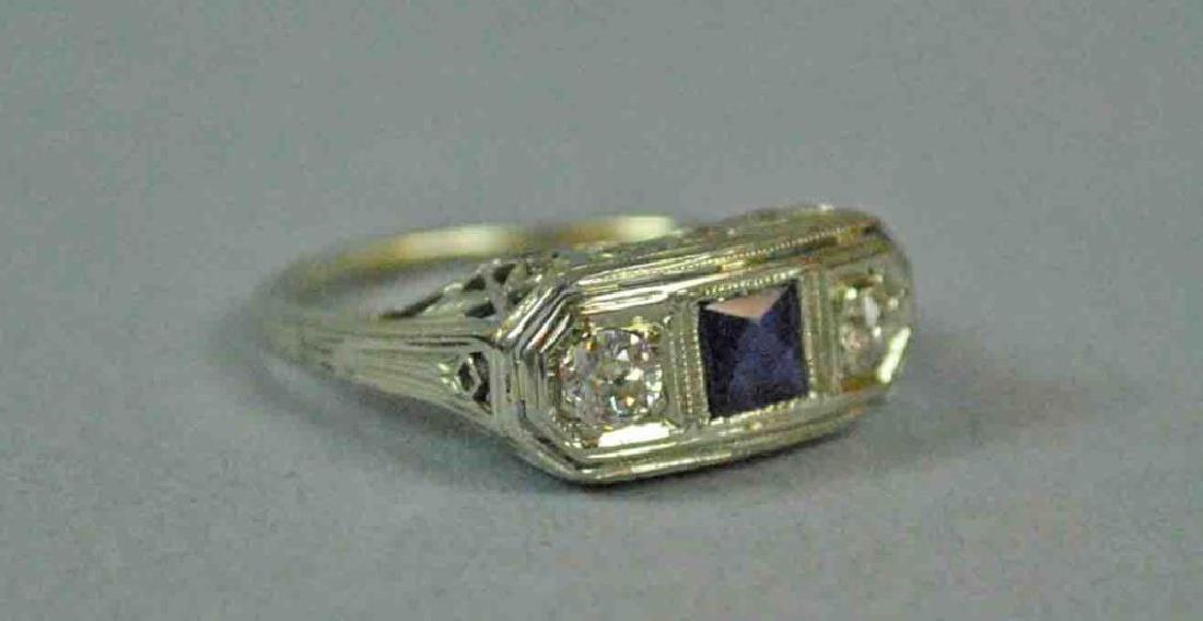 18K ART DECO DIAMOND & SAPPHIRE RING - 3