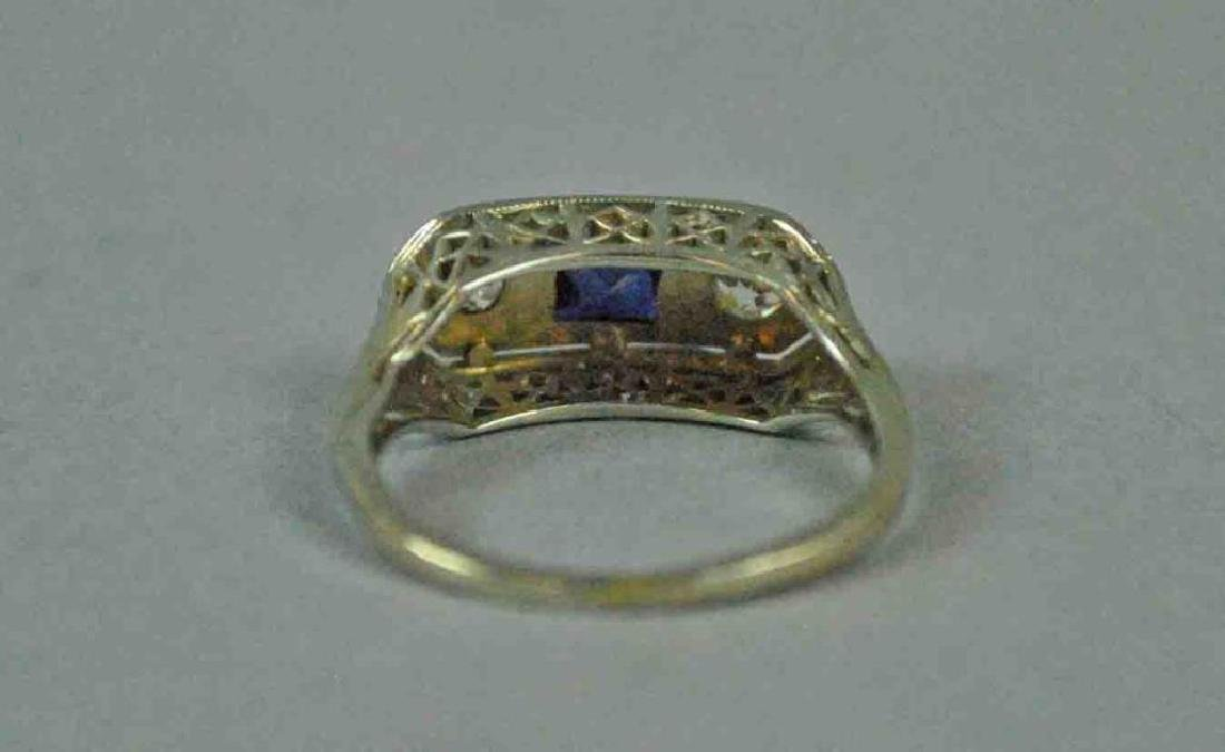 18K ART DECO DIAMOND & SAPPHIRE RING - 4