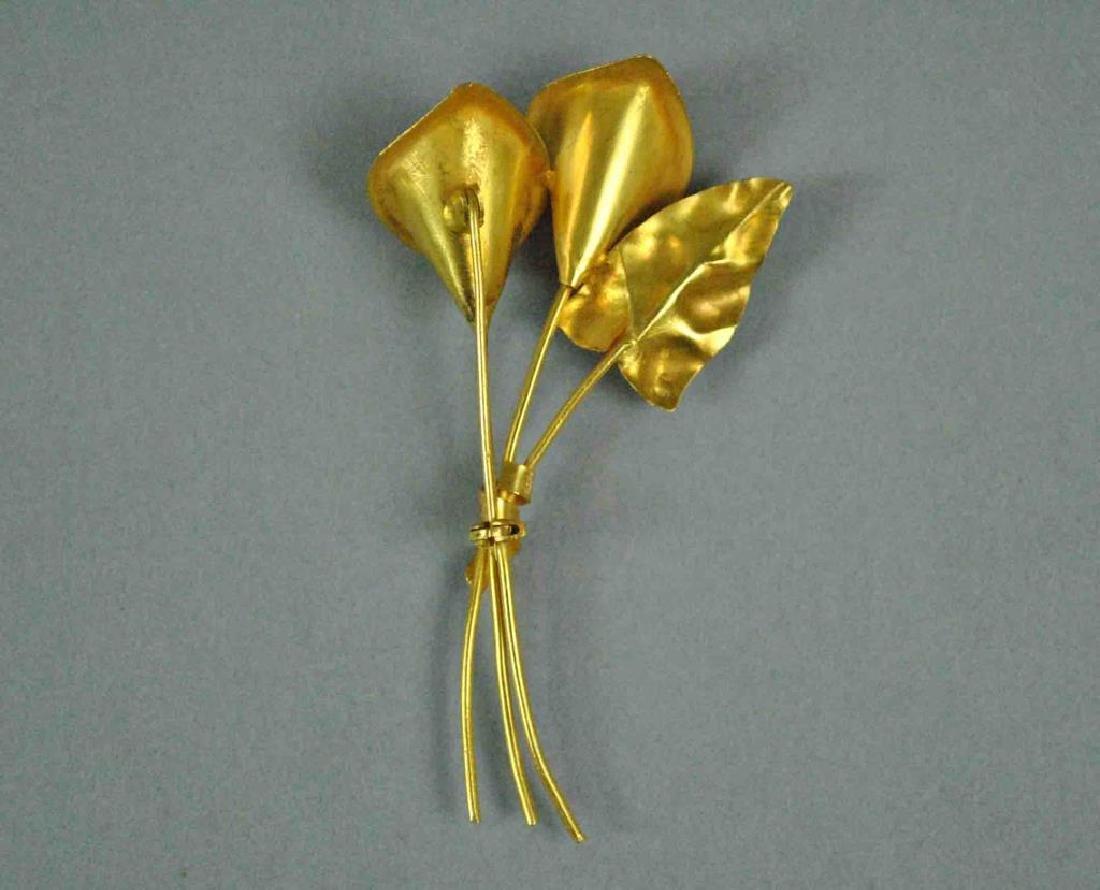 18K GOLD & BAROQUE PEARL CALLA LILY PIN - 3