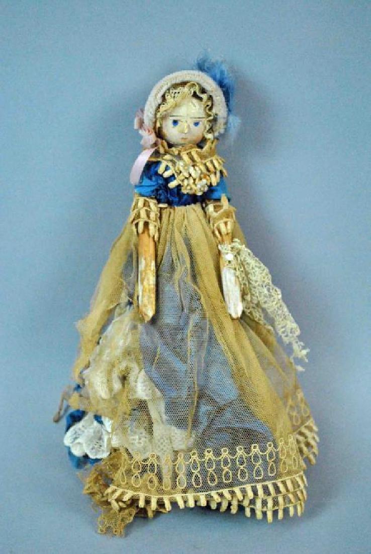 ANTIQUE CARVED & PAINTED PEG DOLL