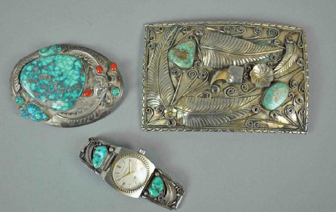 (2) TURQUOISE BELT BUCKLES AND PAIR OF WATCH TIPS