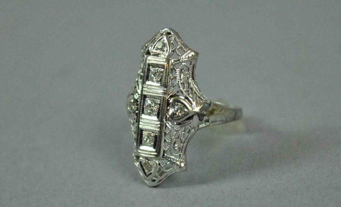 ART DECO FILIGREE DIAMOND RING - 2