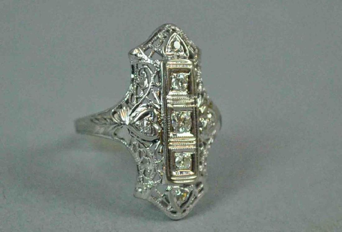 ART DECO FILIGREE DIAMOND RING - 3