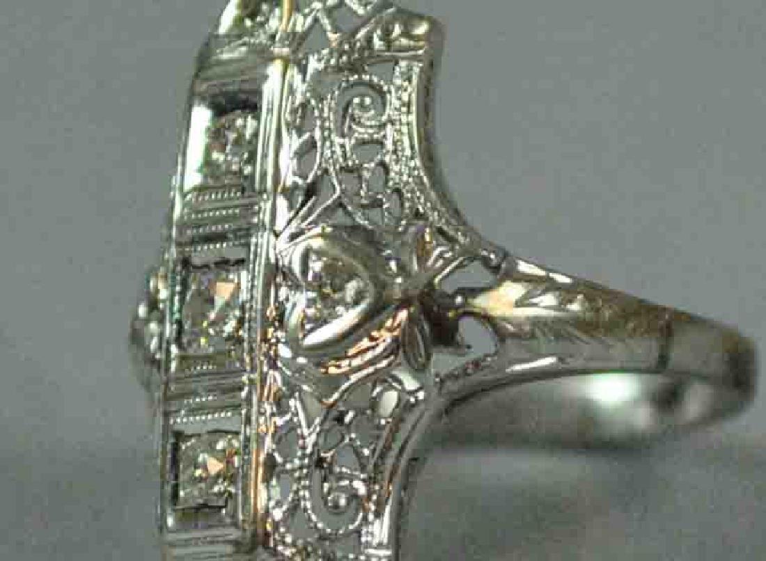 ART DECO FILIGREE DIAMOND RING - 4