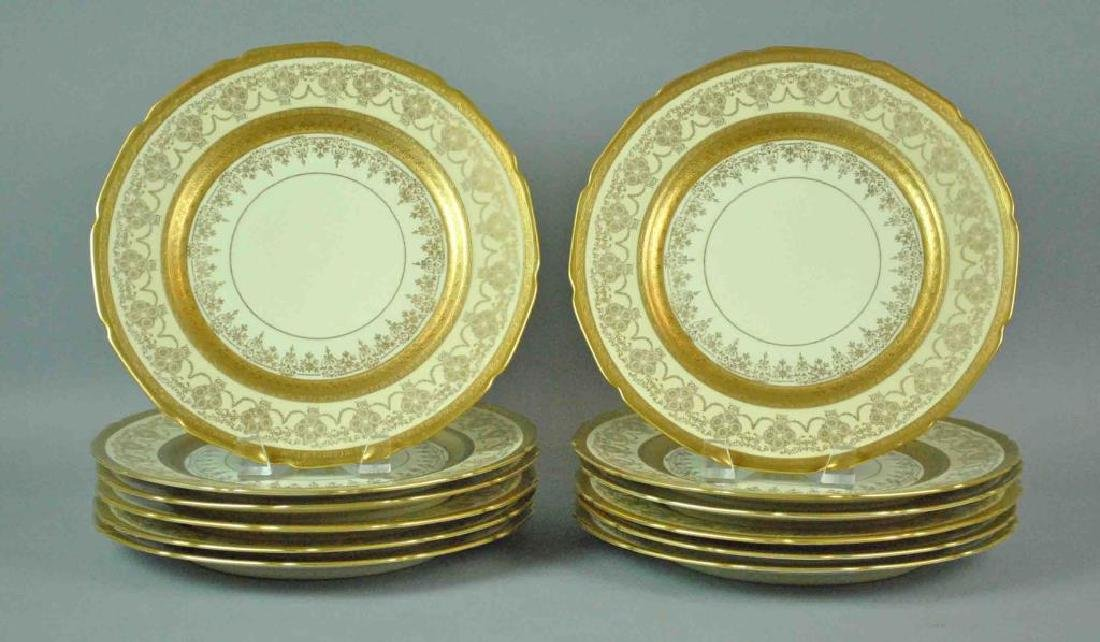 (12) BAVARIAN SCALLOPED RIM CABINET PLATES