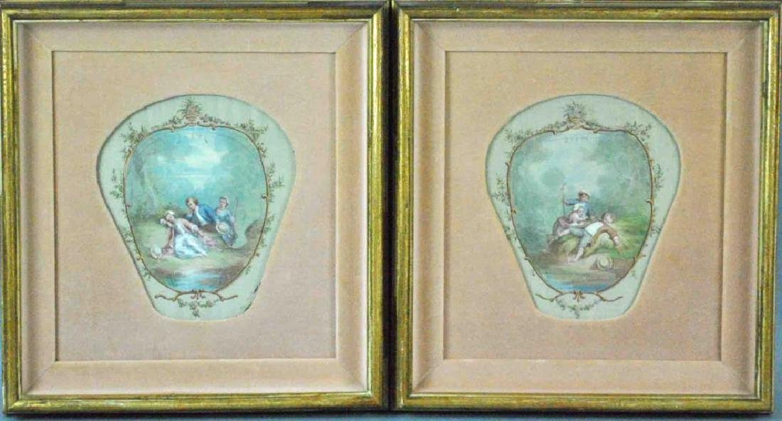 PAIR OF FRENCH ROCOCO STYLE PAINTINGS ON SILK