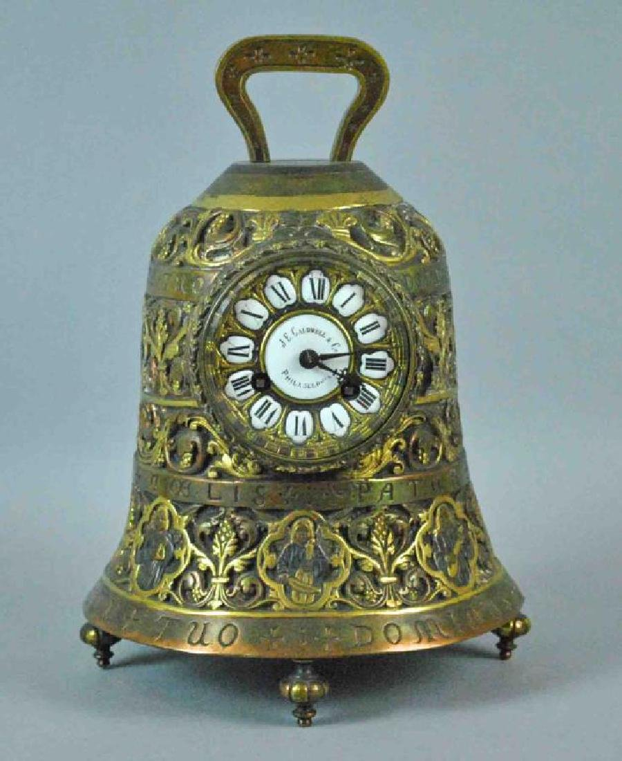 LARGE ANTIQUE BRONZE BELL-FORM CLOCK