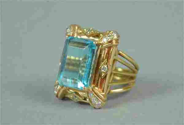14K TOPAZ & DIAMOND FANCY RING, 12.2CT