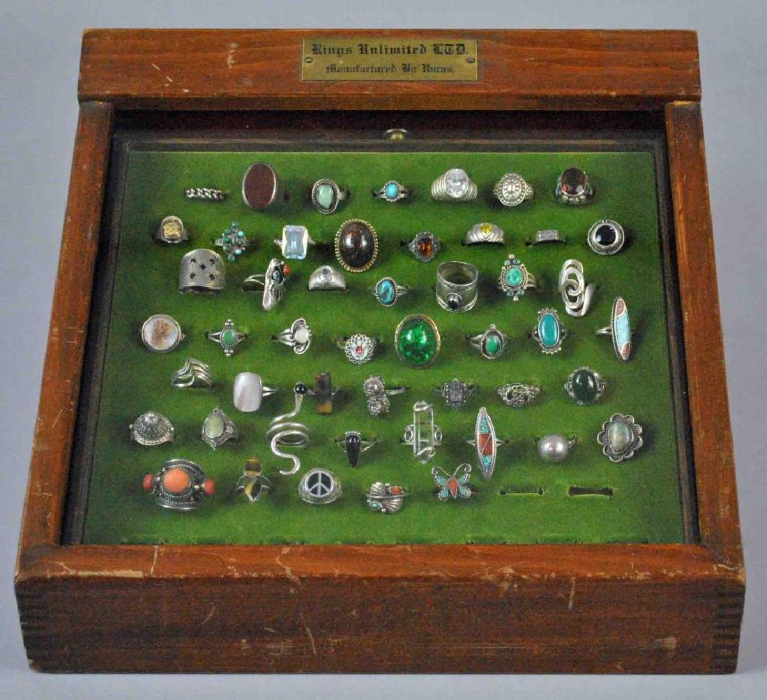 (50) SILVER RINGS WITH VINTAGE DISPLAY CASE