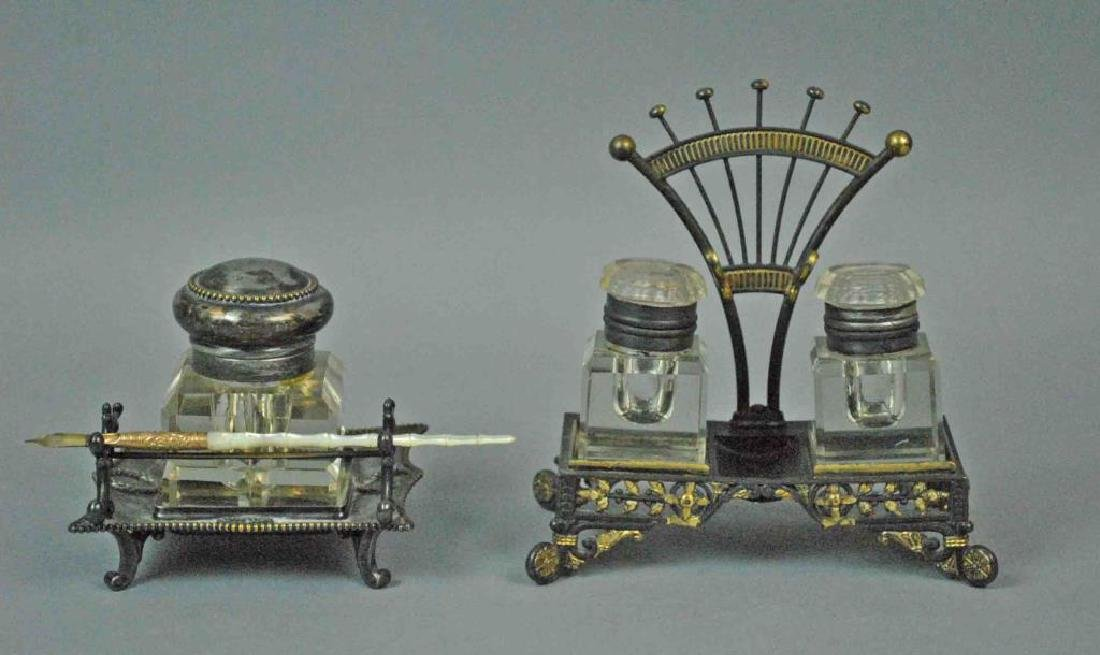 (2) VICTORIAN SILVERPLATED INK STANDS AND A PEN