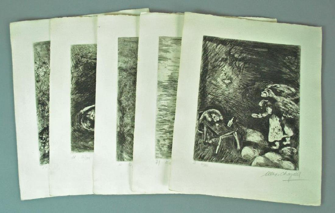 (5) CHAGALL ETCHINGS FROM FABLES OF LA FONTAINE