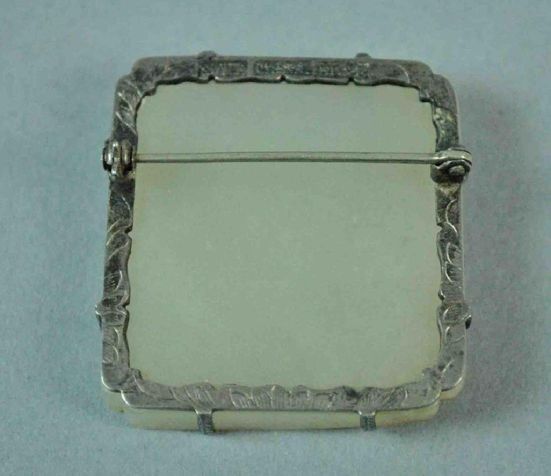 CHINESE SILVER MOUNTED CARVED JADE CALLIGRAPHY PIN - 4