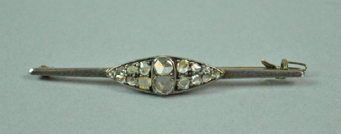 ANTIQUE SILVER TOPPED GOLD & DIAMOND BAR PIN