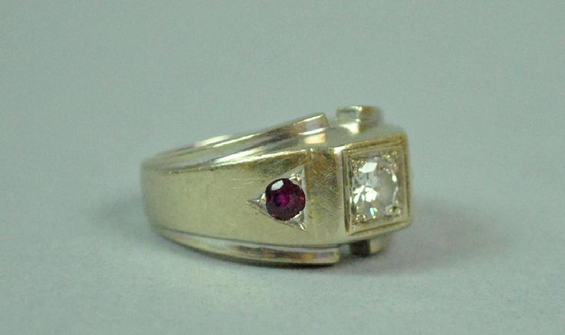 GENT'S DIAMOND & RUBY RING, 0.40CTS - 2