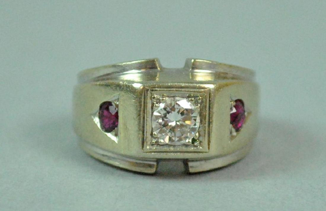 GENT'S DIAMOND & RUBY RING, 0.40CTS - 3