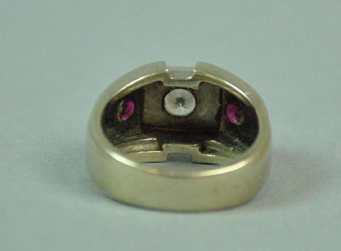 GENT'S DIAMOND & RUBY RING, 0.40CTS - 4