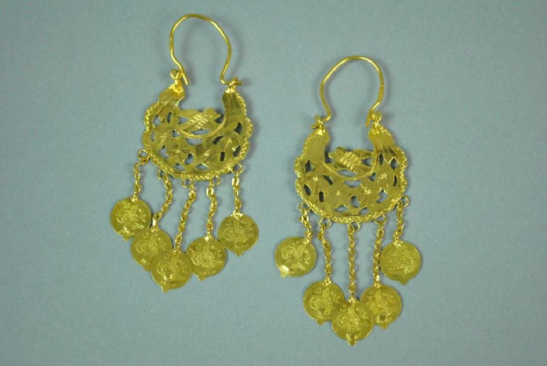 22K EGYPTIAN DANGLING HOOP EARRINGS