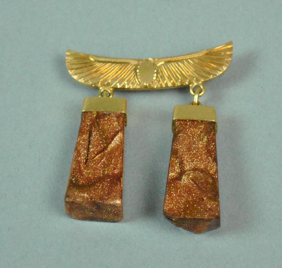 22K EGYPTIAN GOLD MOUNTED GOLDSTONE DANGLING PIN