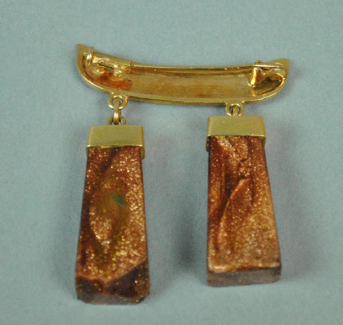 22K EGYPTIAN GOLD MOUNTED GOLDSTONE DANGLING PIN - 2