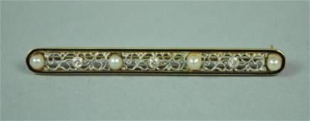 SEED PEARL & DIAMOND FILIGREE BAR PIN