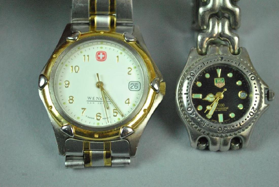 (2) STAINLESS STEEL WATCHES - TAG HEUER & WENGER