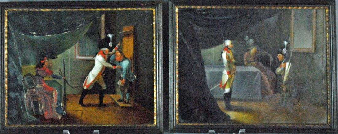 (2) FRENCH SCHOOL EGLOMISE THEATER PAINTINGS