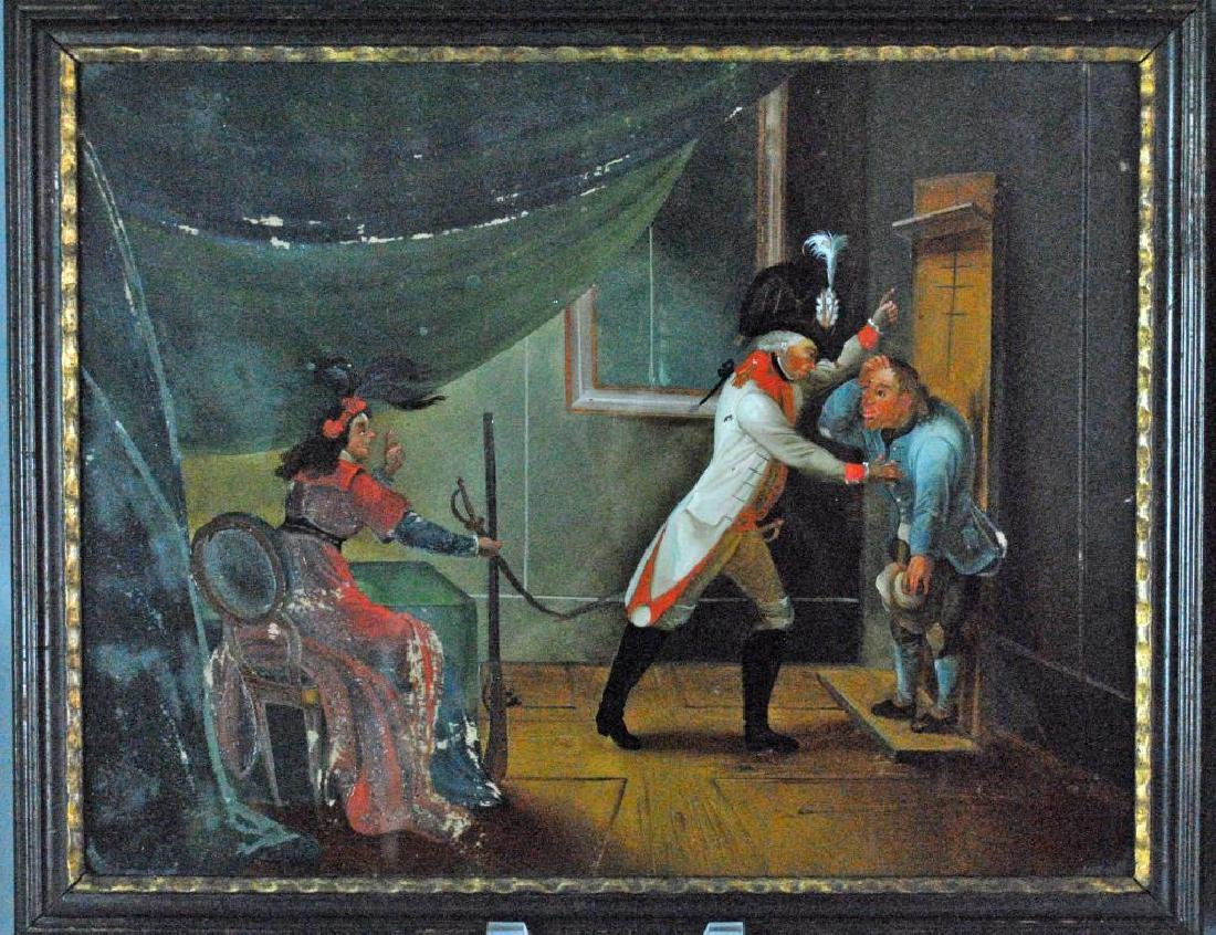 (2) FRENCH SCHOOL EGLOMISE THEATER PAINTINGS - 2