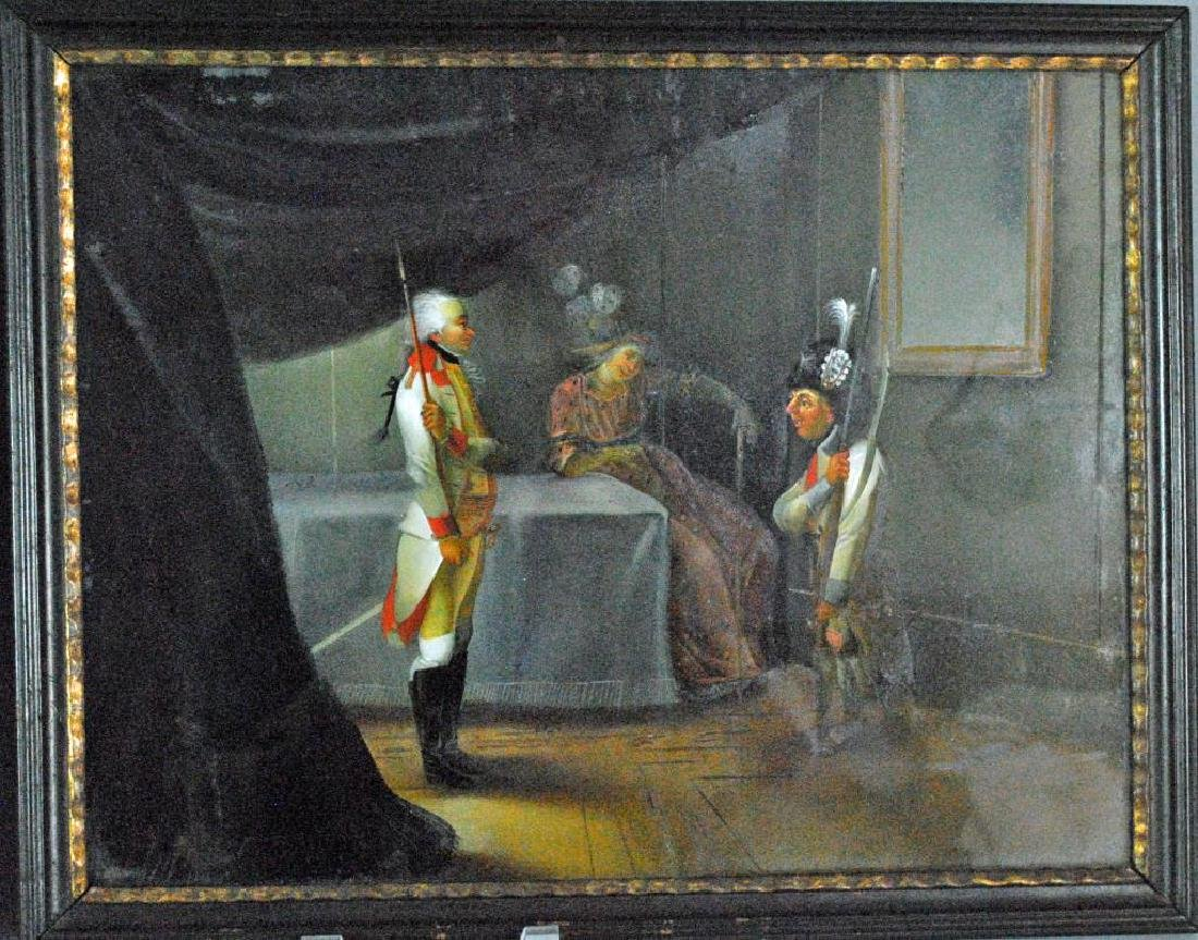 (2) FRENCH SCHOOL EGLOMISE THEATER PAINTINGS - 3