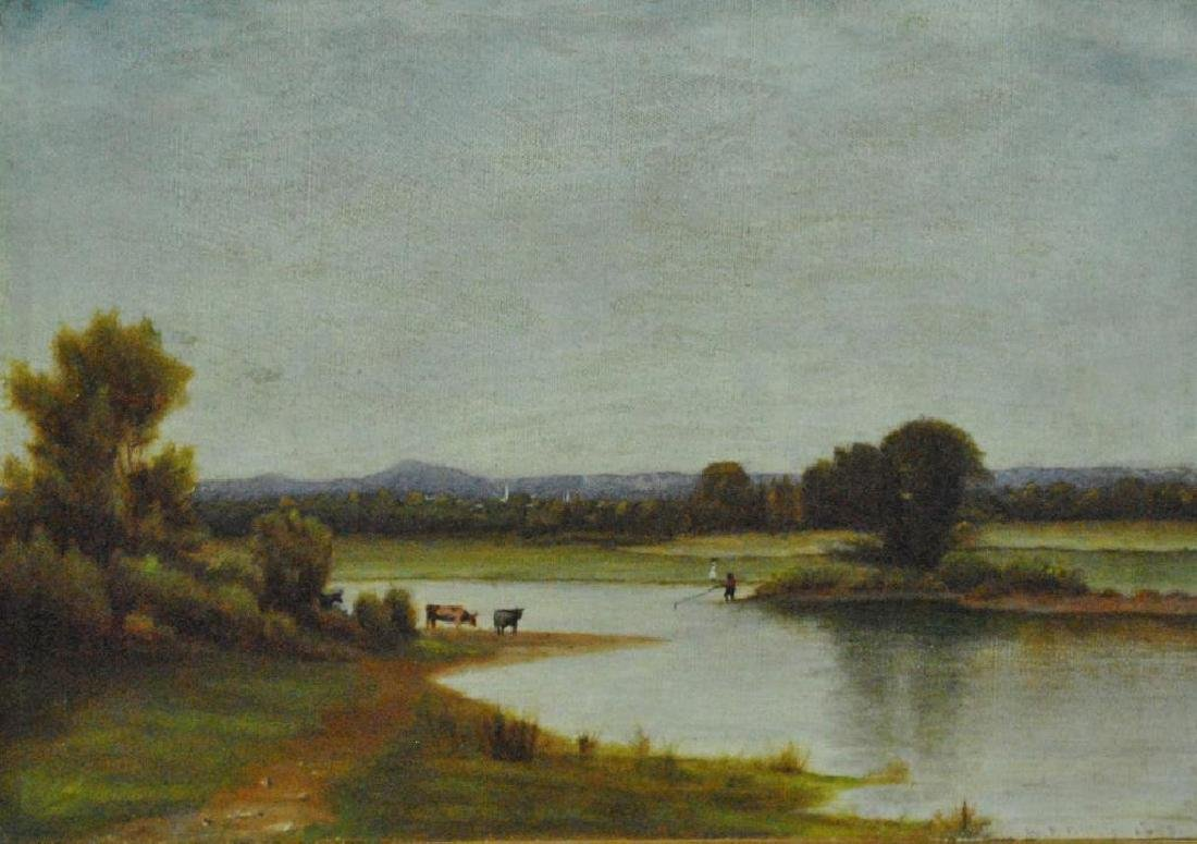 19THC. RIVERSCAPE PAINTING WITH COWS