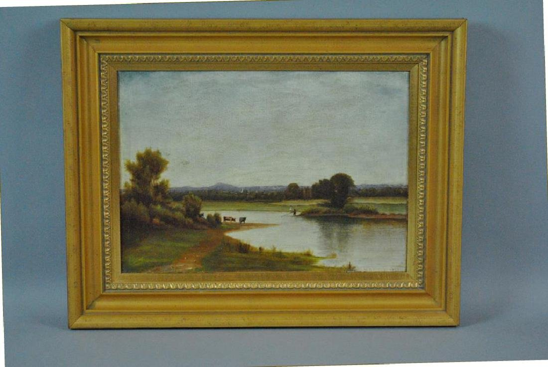 19THC. RIVERSCAPE PAINTING WITH COWS - 2