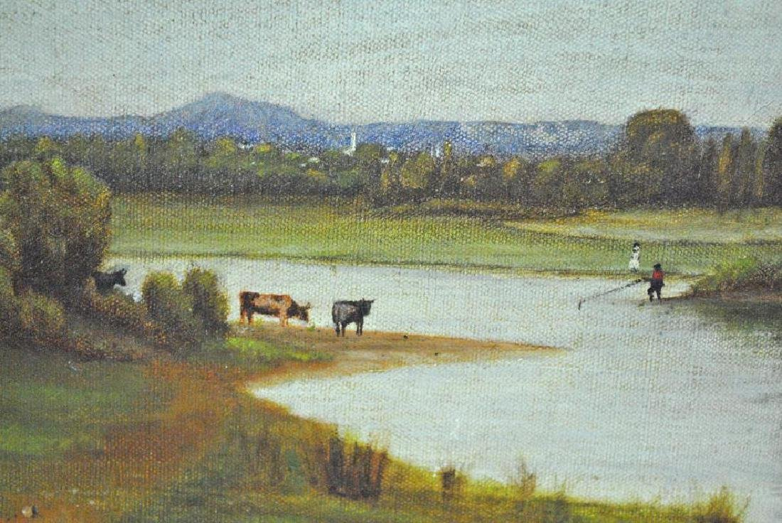 19THC. RIVERSCAPE PAINTING WITH COWS - 3