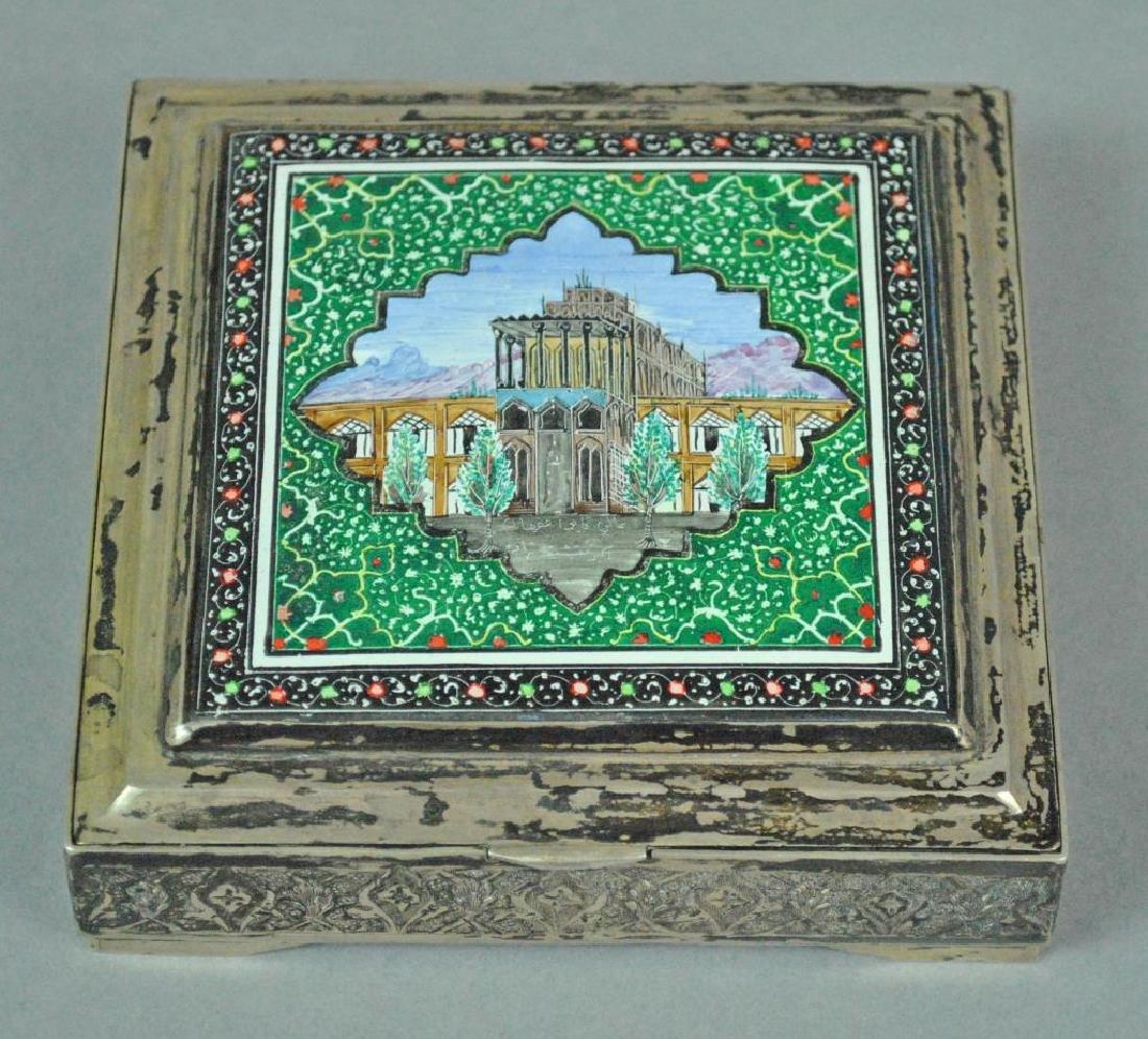 PERSIAN SILVER & ENAMEL BOX