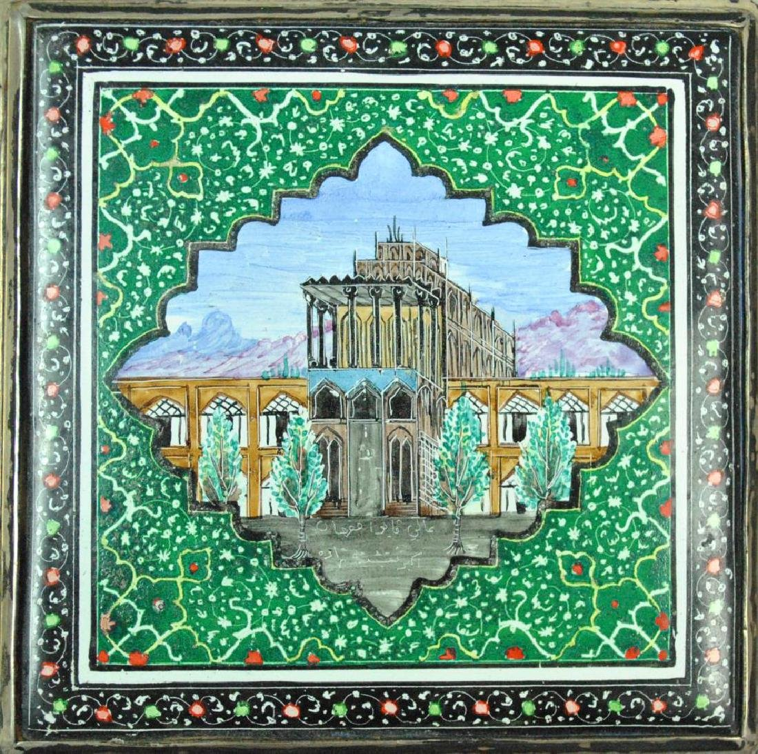 PERSIAN SILVER & ENAMEL BOX - 3