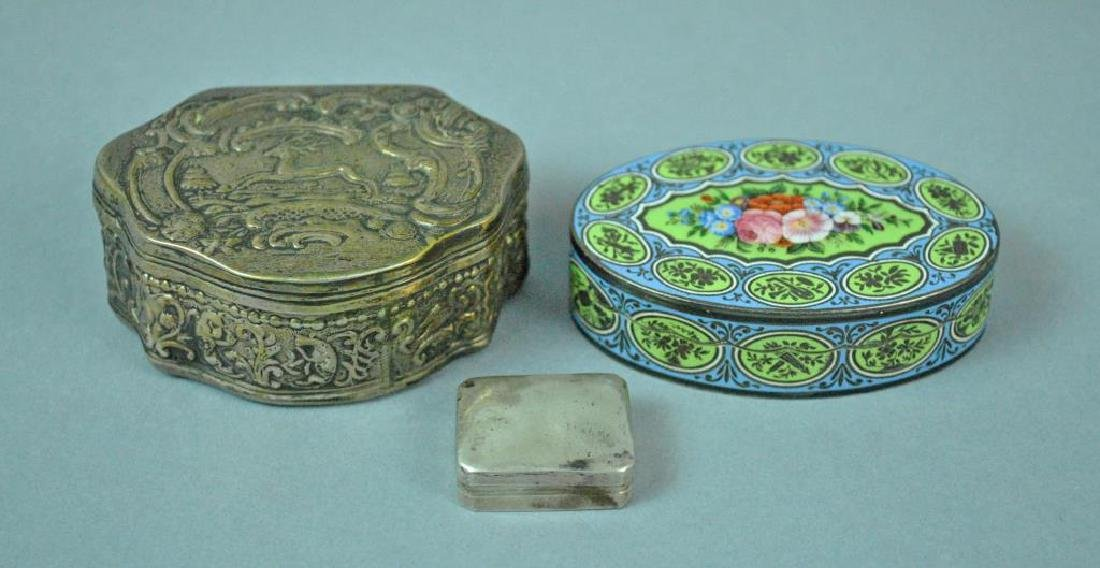 (3) HINGED SILVER BOXES