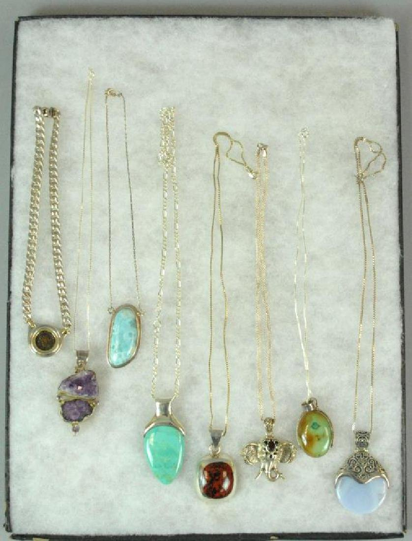 (8) SILVER PENDANTS ON SILVER CHAINS - 2