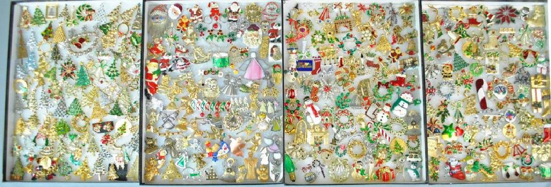 (300+) COSTUME CHRISTMAS JEWELRY, MOSTLY PINS