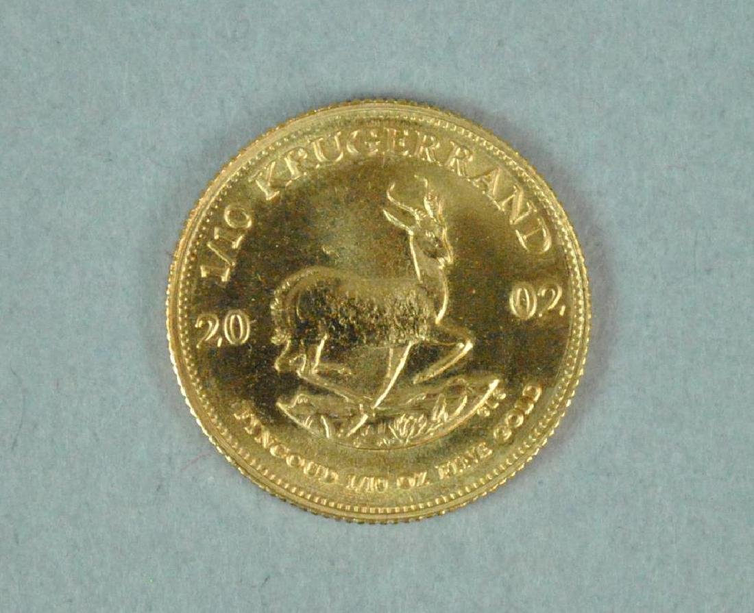 2002 SOUTH AFRICA 1/10 KRUGERRAND GOLD COIN - 2