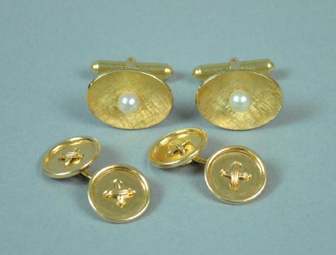 (2) PAIRS OF 14K GOLD CUFFLINKS