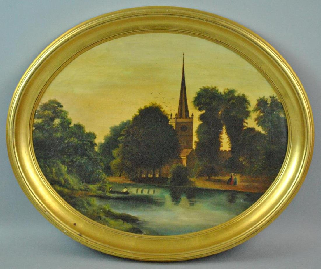 19THC. OVAL LANDSCAPE PAINTING WITH CHURCH & POND