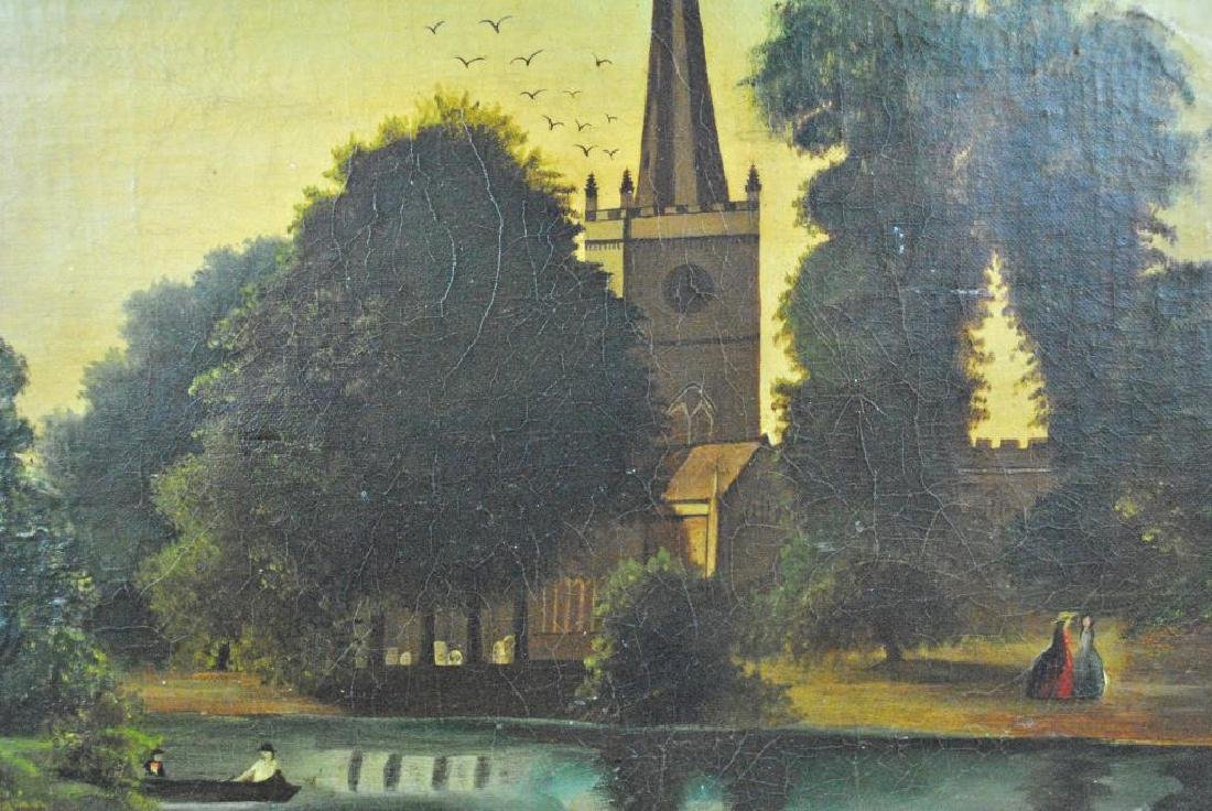 19THC. OVAL LANDSCAPE PAINTING WITH CHURCH & POND - 2