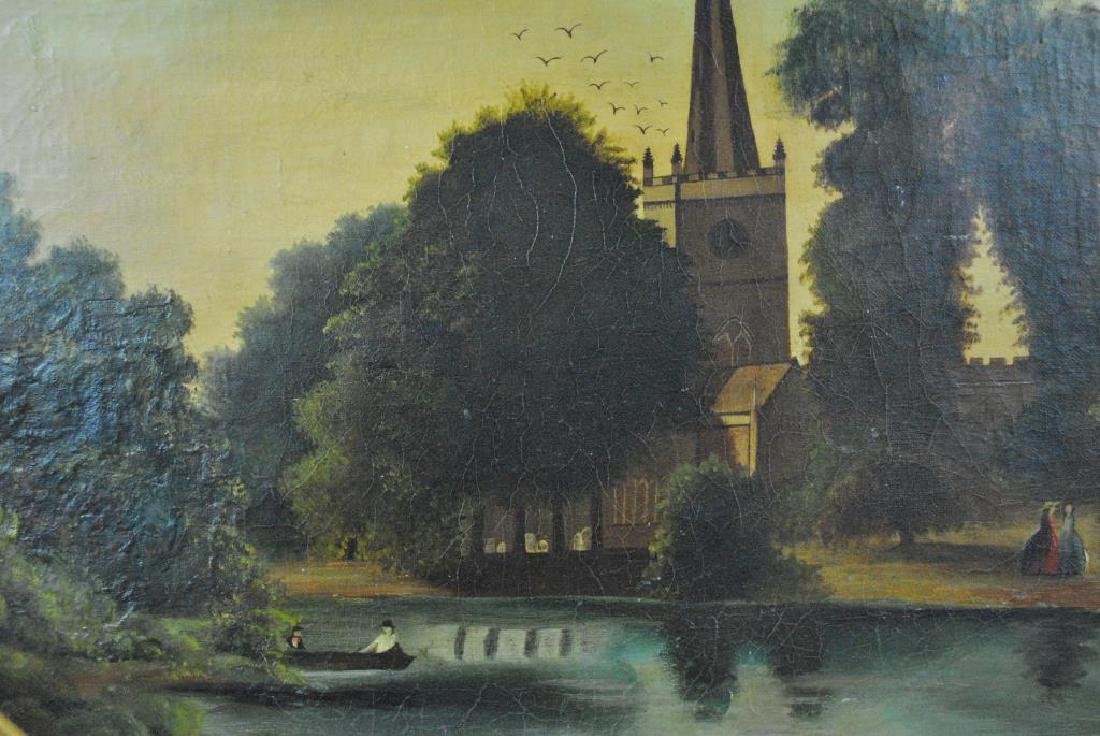 19THC. OVAL LANDSCAPE PAINTING WITH CHURCH & POND - 3