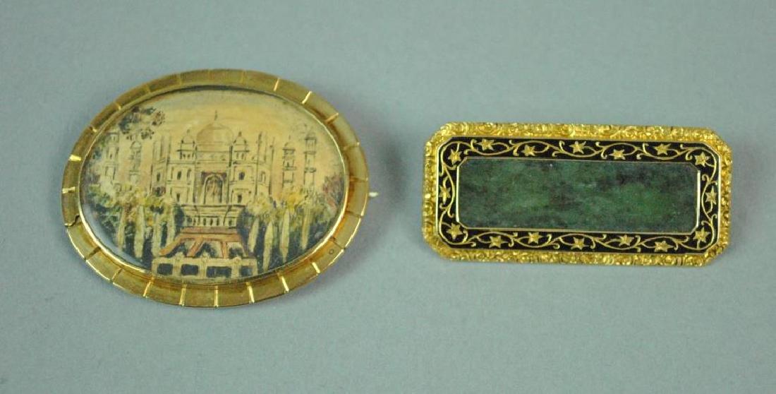 (2) 14K YELLOW GOLD MOUNTED PINS
