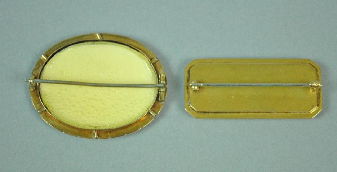 (2) 14K YELLOW GOLD MOUNTED PINS - 2