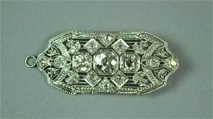 DECO PLATINUMTOP DIAMOND BROOCH 465CTW