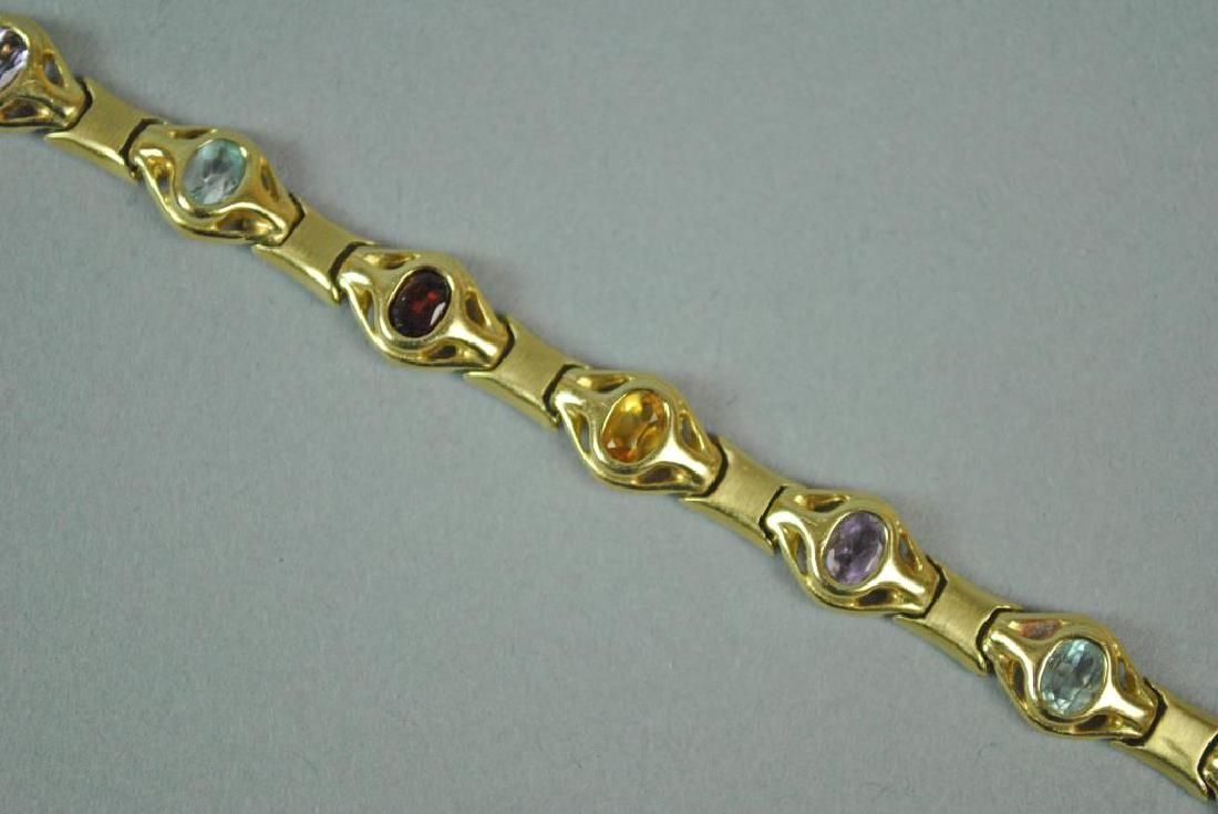 14K GEMSTONE FANCY LINK BRACELET