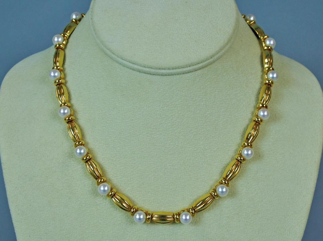 TIFFANY & CO. 18K GOLD & PEARL NECKLACE