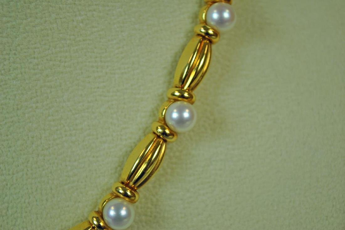 TIFFANY & CO. 18K GOLD & PEARL NECKLACE - 2